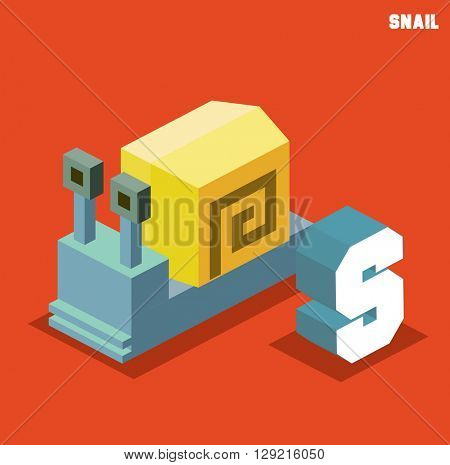 S for snail, Animal Alphabet collection. vector illustration