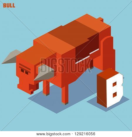 B for Bull, Animal Alphabet collection. vector illustration