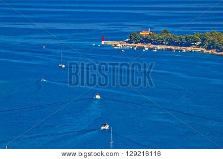 Island of Cres bay aerial view Kvarner Croatia