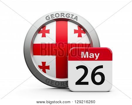 Emblem of Georgia with calendar button - The Twenty Sixth of May - represents the Georgia independence day three-dimensional rendering 3D illustration