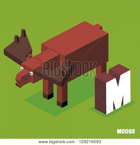 M for Moose. Animal Alphabet collection. vector illustration
