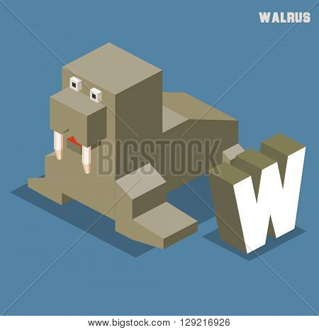 W for walrus, Animal Alphabet collection. vector illustration