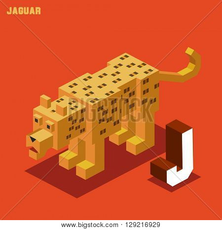 J for Jaguar. Animal Alphabet collection. vector illustration