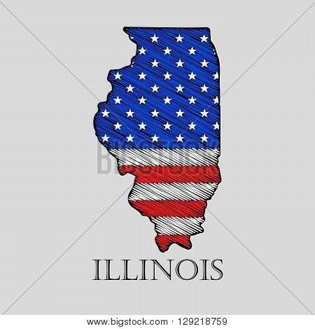 State Illinois in scribble style - vector illustration. Abstract flat map of Illinois with the imposition of US flag.
