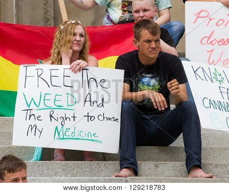 BOISE IDAHO/USA - MAY 7 2016: Sign to free the weed in support of medicinal marijuana at the Global marijuana march in Boise Idaho