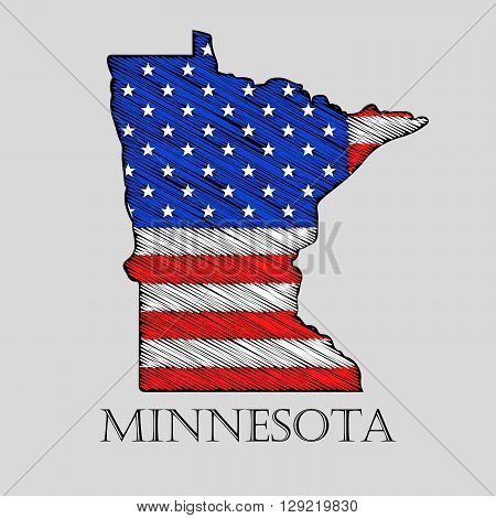State Minnesota in scribble style - vector illustration. Abstract flat map of Minnesota with the imposition of US flag.