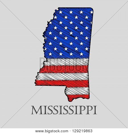 State Mississippi in scribble style - vector illustration. Abstract flat map of Mississippi with the imposition of US flag.