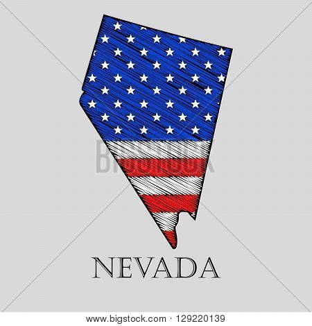 State Nevada in scribble style - vector illustration. Abstract flat map of Nevada with the imposition of US flag.