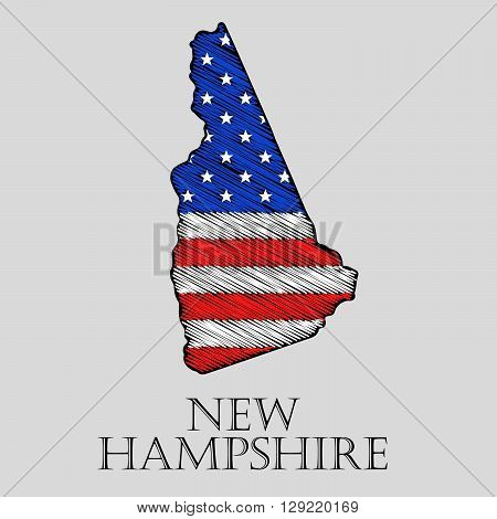 State New Hampshire in scribble style - vector illustration. Abstract flat map of New Hampshire with the imposition of US flag.