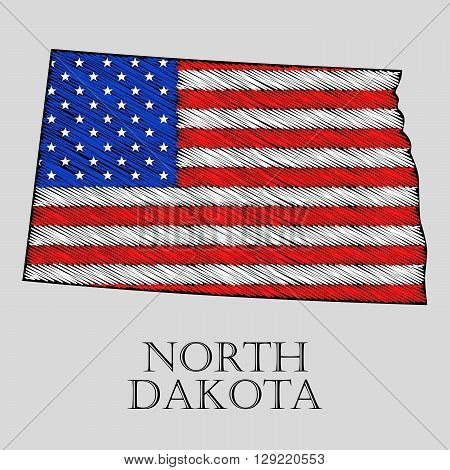 State North Dakota in scribble style - vector illustration. Abstract flat map of North Dakota with the imposition of US flag.