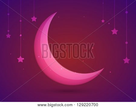 Glossy Pink Crescent Moon on stars decorated glowing background for Muslim Community Festival celebration.