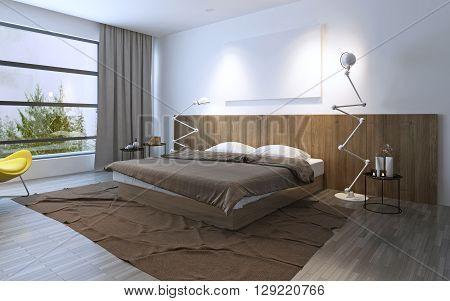 Spacy bedroom with double bed. Brown color in interior. Floor to ceiling window. 3D render