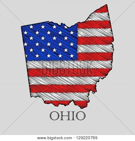 State Ohio in scribble style - vector illustration. Abstract flat map of Ohio with the imposition of US flag.