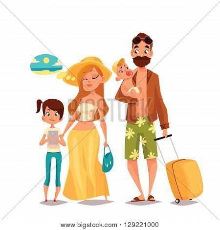 Family on vacation, vector cartoon comic illustration of four people on a white background, traveling and vacationing family with luggage and children, four people, a man with a beard hipster