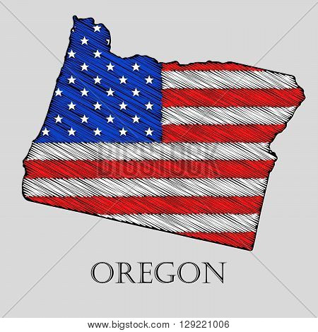 State Oregon in scribble style - vector illustration. Abstract flat map of Oregon with the imposition of US flag.