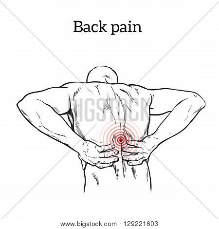 Lumbar pain in a man back pain in a human outline sketch, black and white illustration with concept of disease back, violation of waist, lumbar vertebrae and intervertebral discs