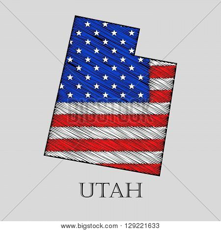 State Utah in scribble style - vector illustration. Abstract flat map of Utah with the imposition of US flag.