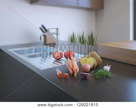 Modern kitchen interior with fresh vegetables on natural stone countertop. 3D render