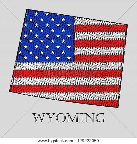 State Wyoming in scribble style - vector illustration. Abstract flat map of Wyoming with the imposition of US flag.