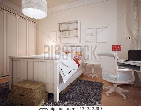 Bedroom in mediterranean design. The bright bedroom with a huge wardrobe and a work area. There is a gray wool carpet and mysterious wicker box for storage on the floor. 3D render