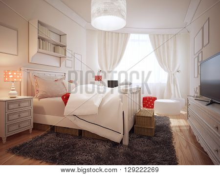 Elegant bedroom in art deco trend. Cute bedside table near luxury bed with pillows and soft white blanket on hotel room with cream-colored walls. 3D render;