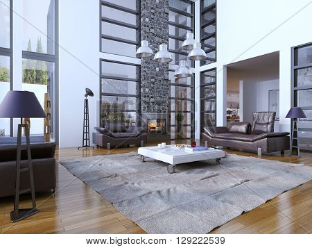 Multi-level living room with panoramic windows trend. 3D render