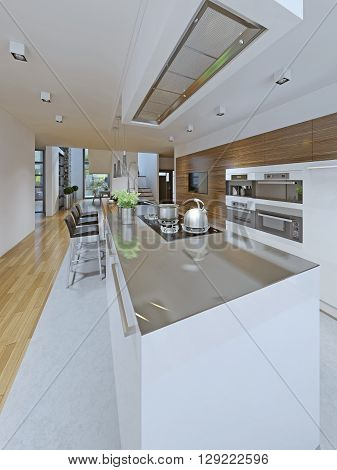 Idea of avant-garde kitchen. Popular trend in kitchen design in which the island's cabinets color contrasts the perimeter cabinets. In this kitchen the island is painted a contrasting white adding interest to the space. 3D render