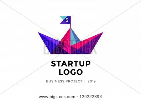 Logo for startup project with inscription Startup Logo - Business project. Logo template of colorful paper boat. Business concept and identity symbol. Startup graphic design concept. Vector Illustration poster
