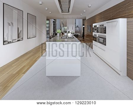 Contemporary kitchen design. Kitchen planning tricks. Modern kitchen with white furniture and discreet hood. Open kitchen design. 3D render