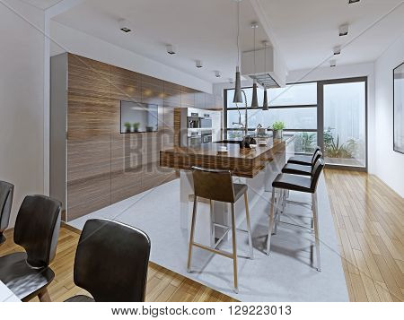 Kitchen high-tech style. Kitchen with breakfast bar embedded on the island. Bright and spacious interior for those who like everything new. 3D render