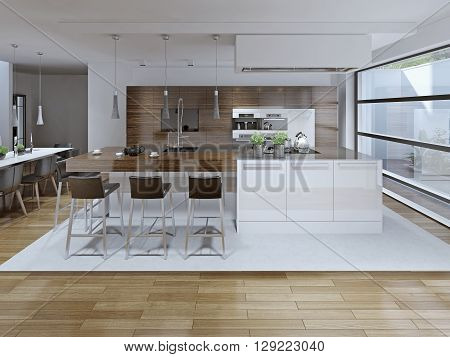 Interior View Of Luxury Kitchen And Dining Room . 3D render poster