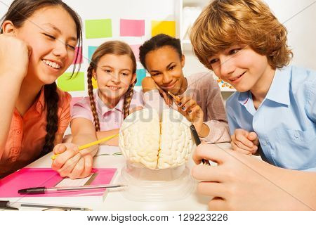 Four multi ethnic students studying the anatomy with cerebrum model at the classroom