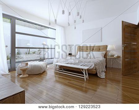 Bright bedroom contemporary style. Beautiful spacious bedroom in the cottage house. A private bathroom and a balcony with a view. 3D render