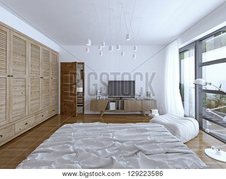 Hotel bedroom design. Spacious room with a TV and good lighting. The door to the bathroom. Balcony with excellent views of the city. 3D render