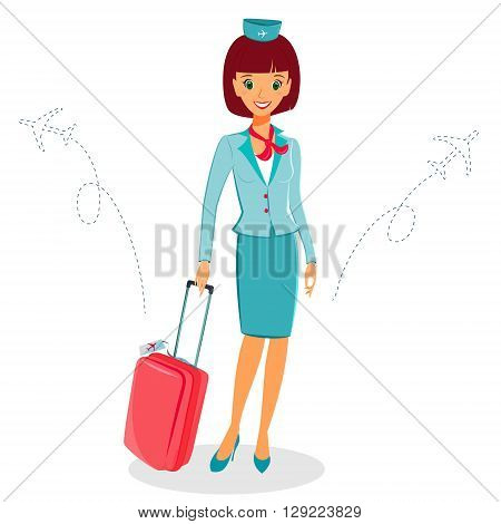 Cheerful cartoon flight attendant in blue and red uniform with suitcase vector illustration professional occupation character. Isolated on white background. Communication in the air concept