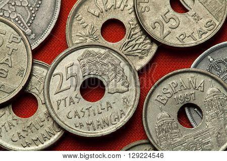 Coins of Spain. Casas Colgadas in Cuenca, Castilla-La Mancha, Spain depicted in the Spanish 25 peseta coin (1996).