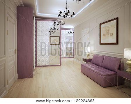 Graceful entrance hall art deco style. 3D render