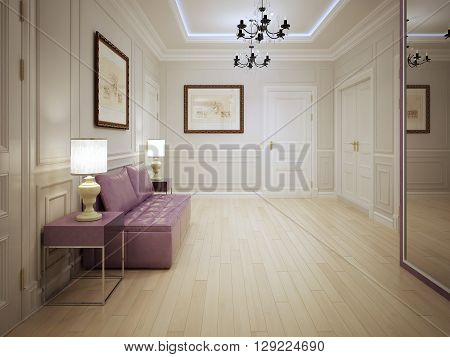 Modern style of entrance hall. Entrance hall with molded wall panels with pink furniture . Lighting is done by ceiling neon lights elegant chandeliers and table lamps. 3D render