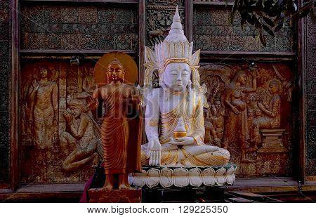 Colombo, Sri Lanka, February: 3, 2016: Buddha statues at the Gangaramaya temple in Colombo, Sri Lanka.
