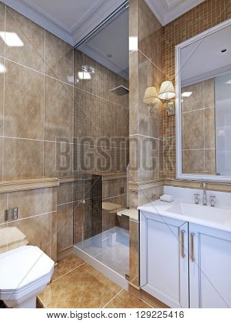 Bathroom art deco style. A full bathroom that's on the small size. Natural beige tile covers both floor and wall. 3D render