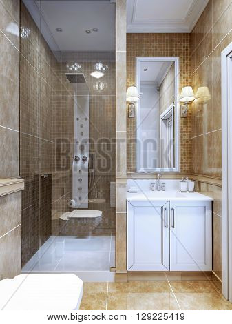 Design of modern bathroom. The combination of natural marble tiles and a small mosaic in the shower and around the mirror. Cosy modern design bathroom with limited space. 3D render