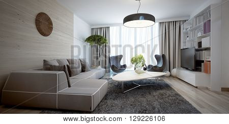 Bright sitting room contemporary trend. 3D render