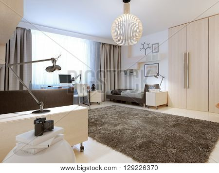 Design of contemporary bedroom. Spacious room for two teenagers. The white walls and ceiling light wood flooring. Strict and at the same time modern design of cabinets and wardrobe. 3D render