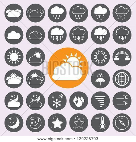 Weather sign and icons set .vector. illustration