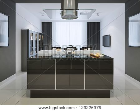 Idea of island bar at techno kitchen. Multifunctional working surface with a huge hood which fits into the great interior. The whole interior is in black and white. 3D render