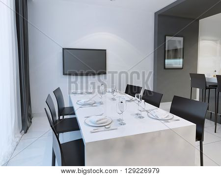 Black and white dining room trend. Dining with dining table set for six people. Hanging TV on the wall. 3D render