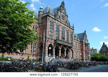 GRONINGEN, THE NETHERLANDS, JULY 7: The Academy Building, the main building of the University of Groningen, on July 7, 2012. It was built in 1909 on the foundations of an older building that was lost in a fire.