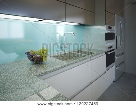 Modern kitchen clean interior design. Marble working area with a light blue wall and built-in lighting. Cabinets white and brown colors built-in appliances. 3D render