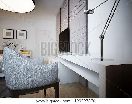 Simple reading table trend.White strict desk with lamp and easy chair with TV and sideboard in the background. 3D render