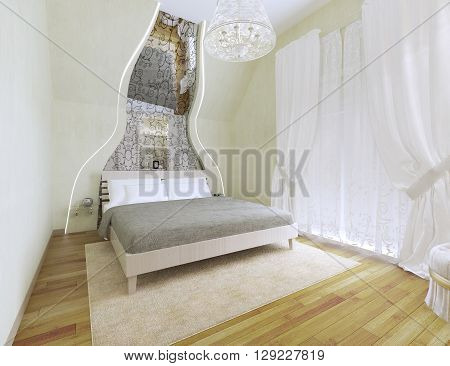 Light tones bedroom with vaulted ceiling. 3D render